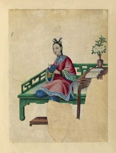 Drawing of a woman seated on a large green bench, holding a small cloth. Chinese drawings. [Date Unavailable] Library locations - The Miriam and Ira D. Wallach Division of Art, Prints and Photographs: Art & Architecture Collection. New York Public Library.