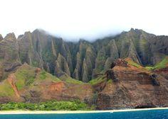 Napali Coast, Kauai, Hawaii. View from Capt. Andy's sunset dinner cruise.