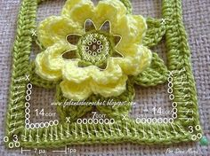 Flower with diagram pattern | knitting and crochet