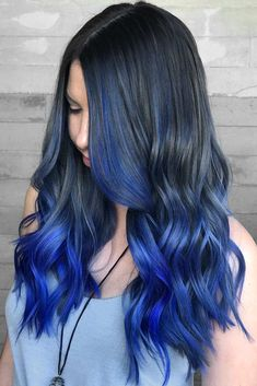 45 Trendy Ombre Hair Color Ideas Black To Eclectic Blue Ombre Brown Ombre Hair, Purple Hair, Black To Blue Ombre, Blue Hombre Hair, Brown Hair Dyed Blue, Blue Hair Colors, Turquoise Hair Ombre, Royal Blue Hair, Ombre Hair Color