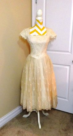 Vintage Ecru or Ivory Eyelet Dress from 1950s by VictorianWardrobe