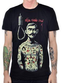 """Men's """"Cruel World"""" Tee by Too Fast (Black) #InkedShop #graphictee #mustache #mens"""