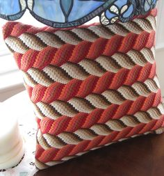 Bargello Needlepoint  3D Hand Embroidered Pillow by Lisolabella, $150.00