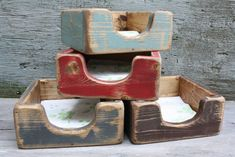 Distressed Napkin Holder Primitive Rustic Painted Kitchen Table Wood Box by TheUnpolishedBarn