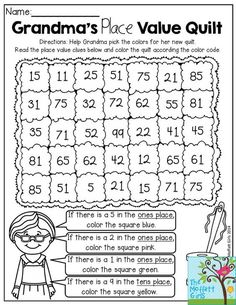Weddings: Grandmas Place Value Quilt- Help Grandma pick the colors for her quilt according to place value. Such a fun way to practice place values in Grade! Its in the Back to School NO PREP Packet for Second Grade! Math Place Value, Place Values, Place Value Worksheets, Fun Math, Math Activities, Place Value Activities, Literacy Worksheets, Math 2, Second Grade Math