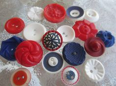 Vintage Buttons  Cottage chic mix of  red off by pillowtalkswf, $8.75