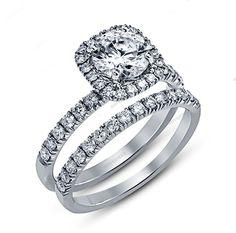 14k White Gold Plated 925 Silver Round Cut D/VVS1 Diamond Bridal Ring 2-3/8 CT…
