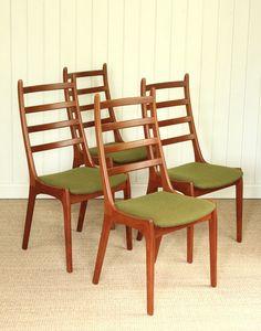 Set Of 4 Danish Teak Kai Kristiansen Ladderback Chairs Mid Century