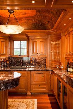 INTERIOR DESIGNER: Urban Dwellings, Tracy Davis ARCHITECTURAL FIRM: Knickerbocker Group MANAGING CONTRACTOR: Knickerbocker Group, General: Tim Vigue LIGHTING DESIGN FIRM: Greg Day Lighting, Principal: Greg Day PHOTOGRAPHER: Brian Vanden Brink PORTFOLIO: Private Coastline Residence [Maine, New England, ceiling detail, chandelier, wood, bar, wine, drinks, glasses, window, curvature, hardwood flooring, wine fridge, traditional, architecture, interior design]