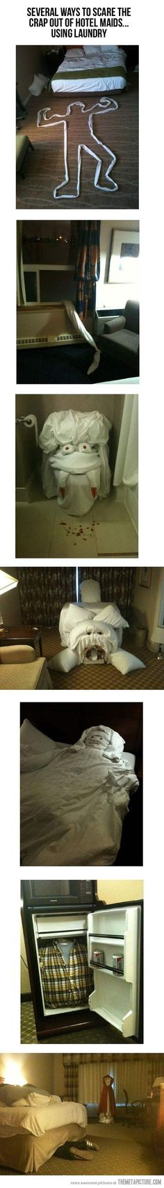 How to scare the crap out of hotel maids with laundry lol