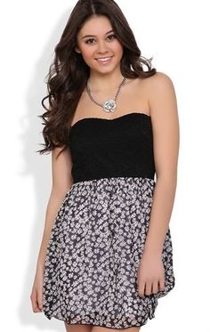 Deb Shops Strapless Dress with Lace Bodice and #Daisy Skirt $32.90