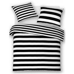 Dekbedovertrek Monica Stripe Zwart Lits Jumeaux 240 x 200/220 cm