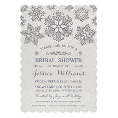 elegant glittering silver snowflake bridal shower invitation winter bridal showers lingerie party bridal shower