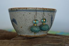 Modern Etched Turquoise Gold Acrylic Saucer by BeadsindeedDesigns