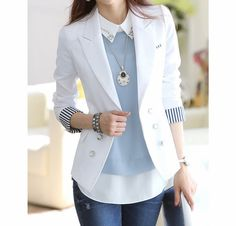 Stripe Tailored Collar Long Sleeves Polyester Ladylike Style Blazer For Women Trajes Business Casual, Business Casual Outfits, Business Attire, Office Outfits, Mode Outfits, Fashion Outfits, Womens Fashion, Blazer Fashion, Fashion Clothes
