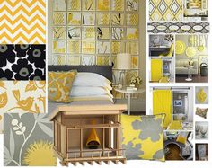color and pattern. love the top left and love the repetitive squares for a page layout like in the art over the bed. Colour Schemes, Color Palettes, Color Combos, Colours That Go With Grey, Color Of The Year, Grey Walls, Fixer Upper, Color Inspiration, Paint Colors