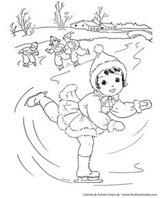 Kids In Winter Activities Coloring Page | Ice Skating On The Stream