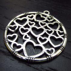 5PCs Hearts Round Wholesale Silver Plated Charm Pendants - C6726