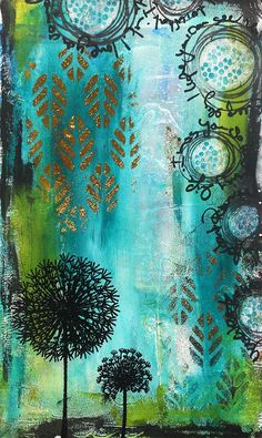 Susanne Rose Designs: Art Journal Page with WOW! Embossing Powder, STAMPlorations stencil, Gold Foil