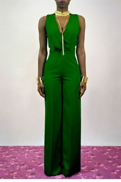 Emerald Green Cross Back Wide Leg #Jumpsuit