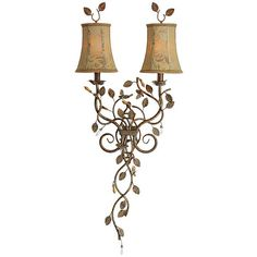Brighten any room in the house with this brass mirrored wall sconce. With its beautiful floral details and gold finished vines elegantly swirling beneath the lights, this wall sconce will stand out and add a unique touch to your interior decor.