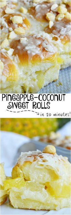 Pineapple Coconut Hawaiian Sweet Rolls in 20 minutes! Yes, it is possible. Sweet Hawaiian rolls stuffed with pineapple and coconut then drizzled with a pineapple glaze. Top with macadamia nuts for the ultimate tropical inspired dessert recipe. #ad #HawaiianFoodsWeek