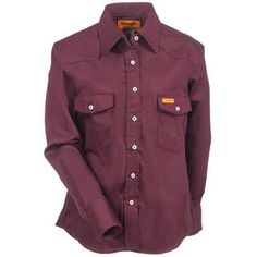 14633733120f Wrangler Shirts  Women s Burgundy FRLW04 R Flame Resistant Western Shirt -  Flame Resistant Clothing -
