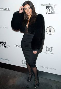 Kim Kardashian wearing Tom Ford Spring 2014 Black Fur Coat, Stella McCartney Spring 2014 Top and Tom Ford Lace Up Scallop Sandals.