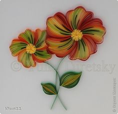 Picture, pictures, graphic Quilling: Red Flower Holiday Paper strips.  Photo 1