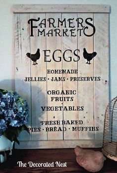 farmers-market-sign-the-decorated-nest  http://www.thedecoratednest.com/pallet-farmers-market-sign/