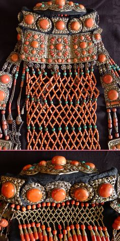 A Chahar women's headdress set, gilded silver with coral, turquoise and agate on black cotton padding. Mongolia, 19th c. Private collection.
