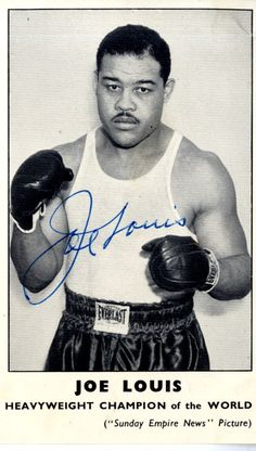 LOUIS JOE: (1914-1981) American Boxer, World Heavyweight Champion 1937-49. Vintage signed 3 x 5 photograph, the printed paper image depicting Louis standing in a three quarter length boxing pose. Signed with his name alone in bold blue ink across a light area at the centre of the image