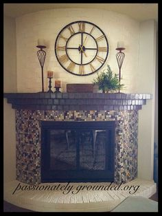 This chic painted and tiled fireplace was once covered in brick and brass