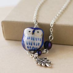 Handmade Gifts   Independent Design   Vintage Goods Midnight Blue Owl Necklace - New Arrivals