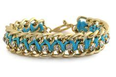 Aqua Blue Woven Chain and Rhinestone Bracelet. $27.00, via Etsy.