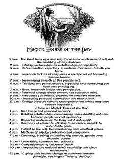 Spiritual hours of the day. For prayer ritual or meditation