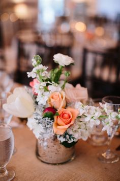 Peach and white centerpiece // photo by Kallima Photography, see more: http://theeverylastdetail.com/romantic-coral-florida-wedding/