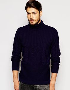 Image 1 ofASOS Roll Neck Jumper With Mixed Cable