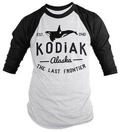 Shirts By Sarah Men's Kodiak Alaska Shirt Last Frontier Orca Whale 3/4 Sleeve Shirts