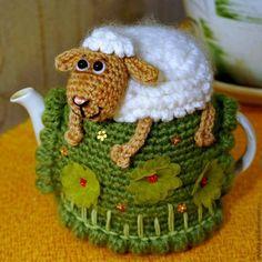 Crochet Sheep on the Hill Fairy Teapot Cozy Cover Pattern Crochet Sheep, Crochet Cozy, Crochet Animals, Tunisian Crochet, Tea Cosy Knitting Pattern, Knitting Patterns, Crochet Patterns, Knitting Magazine, Crochet Magazine
