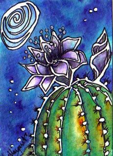"Water Blossoms: ""When the Deep Purple Falls. Cactus Drawing, Watercolor Cactus, Cactus Art, Watercolor Paintings, Glue Art, Batik Art, Desert Art, Southwest Art, Middle School Art"