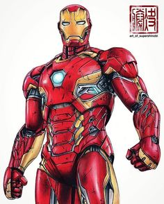 Iron Man (Mark XLV) - Copic Markers and Prismacolor Pencils on Strathmore Bristol Board. Marvel Comics, Dc Comics Art, Marvel Art, Marvel Heroes, Marvel Avengers, Iron Man Wallpaper, Marvel Wallpaper, Iron Man Kunst, Original Iron Man