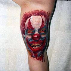 75 Clown Tattoos For Men - Comic Performer Design Ideas Good Clowns, Evil Clowns, Evil Clown Tattoos, Creepy Tattoos, Tattoos For Guys, Small Tattoos, Clown Images, Clover Tattoos, Tattoo Trends