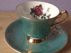 Vintage Tea Cup Sets | tea cup and saucer set 1950 s society english bone china tea set red ... .
