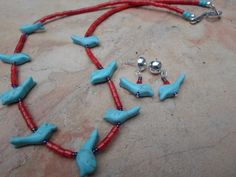 Southwest Turquoise Zuni Fetish Birds on Coral  by BaublesAbode, $40.00