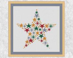 Christmas star cross stitch pattern, modern Christmas cross stitch stars, holiday, seasonal, gold, silver, easy decoration, printable PDF by Climbing Goat Designs