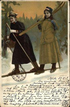 Two Women Skiing Norway Scandinavia