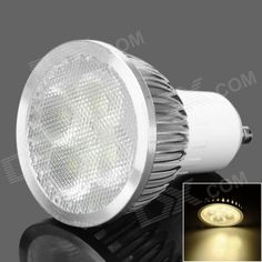 Brand: GU10 4W; Material: Aluminium alloy; Color: White; Quantity: 1; Emitter Type: EPILEDS; Total Emitters: 4; Power: 4 W; Color BIN: Warm White; Rate Voltage: 85~265 V; Luminous Flux: 280 lm; Chip Working Voltage: 3.0~3.4V; Color Temperature: 3500 K; Wavelength: N/A nm; Connector Type: GU10; Application: Home, hotel, school etc; Features: Long use life up to 50000 hours; Packing List: 1 x LED bulb; http://j.mp/1toBu9H