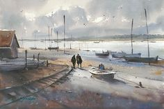 Arcachon, France IV by Keiko Tanabe Watercolor ~ 14 1/4 x 21 1/2 inches (36 x 54.4 cm)