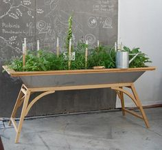 Build Your Own Salad Table Apartment Gardening.Build Your Own Salad Table Garden Table, Herb Garden, Vegetable Garden, Home And Garden, Garden Stakes, Garden Beds, Organic Gardening, Gardening Tips, Indoor Gardening